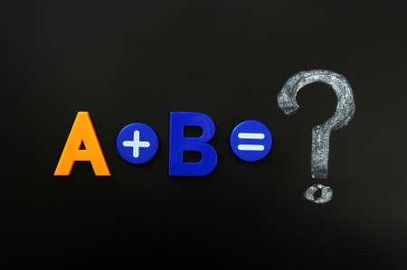 Math formula of A plus B on a blackboard