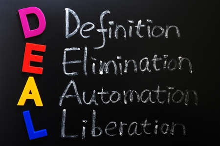liberation: Acronym of DEAL - Definition, Elimination, Automation, Liberation on a blackboard