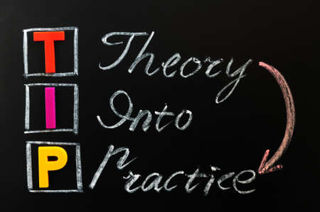 acronym: Acronym of TIP on a blackboard - Theory into Practice Stock Photo