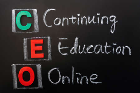Acronym of CEO - Continuing Education Online written in chalk on a blackoard Stock Photo - 12389558