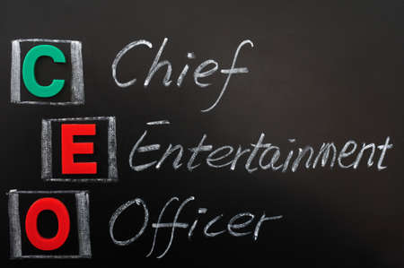 Acronym of CEO - Chief Entertainment Officer written in chalk on a blackoard Stock Photo - 12389546