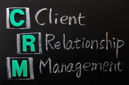 relation clients: Acronyme de CRM - Gestion de la Relation client �crit sur un tableau noir