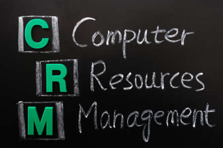 resources management: Acronym of CRM - Computer Resources Management written on a blackboard Stock Photo
