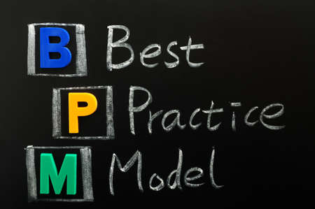 bpm: Acronym of BPM - Best Practice Model written on a blackboard Stock Photo