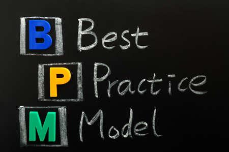 best practices: Acronym of BPM - Best Practice Model written on a blackboard Stock Photo
