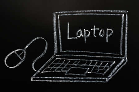 Laptop with a mouse drawn in chalk on a blackboard Stock Photo - 12389606