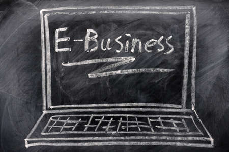 ebusiness: Chalk drawing of Laptop with E-business on the screen