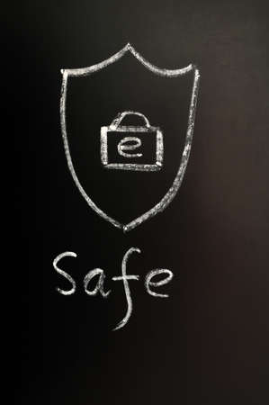 Safe internet concept drawn on a blackboard Stock Photo - 12389597