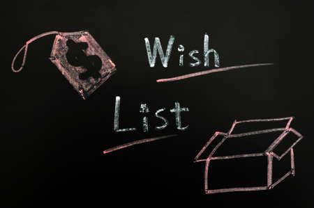 wish list: Wish list concept with a box and label on a blackboard