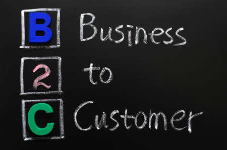 b2c: Acronym of B2C - Business to Customer written on a blackboard