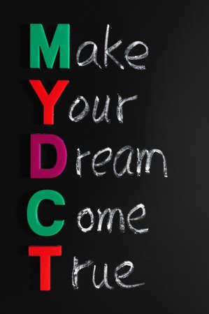 come in: Make your dream come true written in chalk on a blackboard