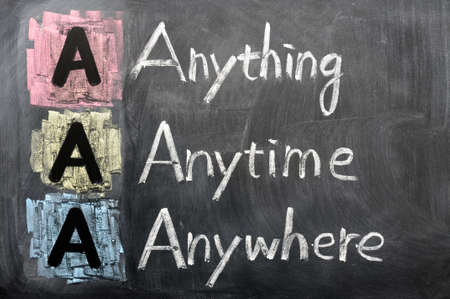 Acronym of AAA - anything, anytime, anywhere written on a blackboard