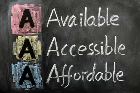 affordable: Acronym of AAA - available, accessible. affordable written on a blackboard