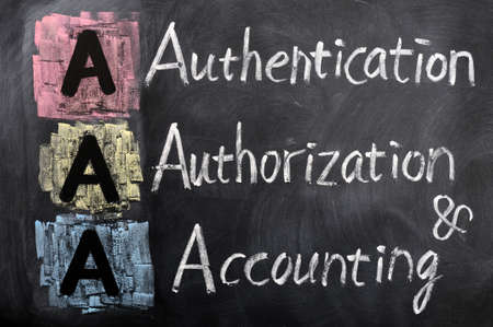 authorization: Acronym of AAA - authentication, authorization, accounting written on a blackboard Stock Photo