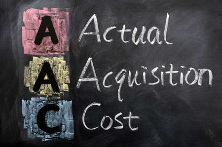 actual: Acronym of AAC for Actual Acquisition Cost written in chalk on a blackboard