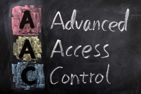 Acronym of AAC for  Advanced Access Control written in chalk on a blackboard Stock Photo - 12389710