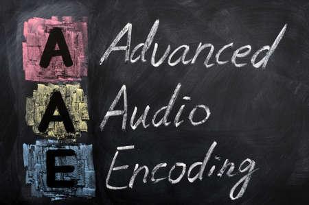 Acronym of AAE for Advanced Audio Encoding written in chalk on a blackboard Stock Photo - 12389714