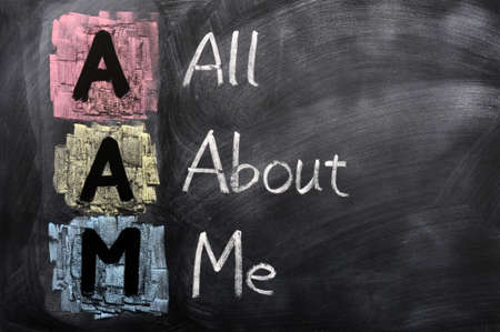 about: Acronym of AAM for All About Me written in chalk on a blackboard Stock Photo