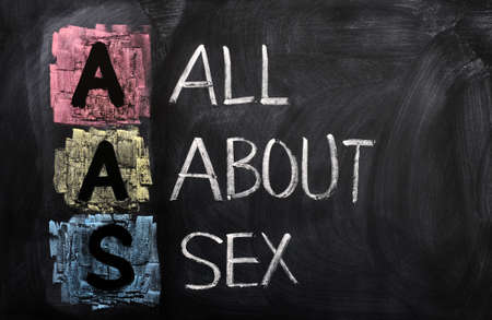 sex education: Acronym of AAS for All About Sex written in chalk on a blackboard