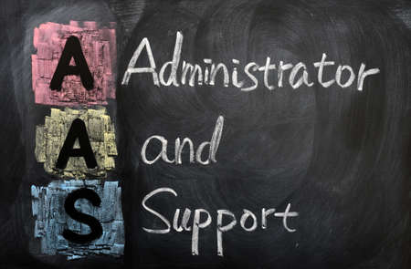 aas: Acronym of AAS for administrator and support written in chalk on a blackboard