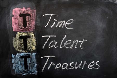 Acronym of TTT for Time, Talent, Treasures written on a blackboard