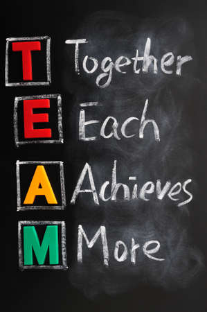 achieves: Acronym of TEAM for together each achieves more Stock Photo