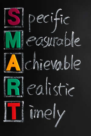 specific: Acronym of SMART for specific, measurable, achievable, realistic, timely