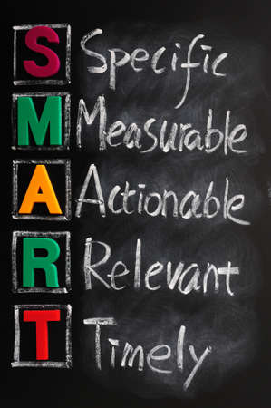 specific: Acronym of SMART for specific, measurable, actionable, relevant, timely Stock Photo