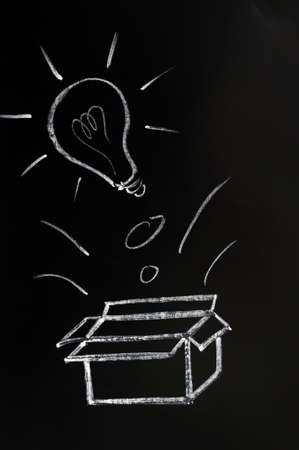 Thinking outside the box concept drawn on a blackboard photo