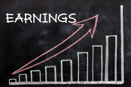 Charts growing up with the word earnings written in white chalk on a blackboard Stock Photo - 12825221