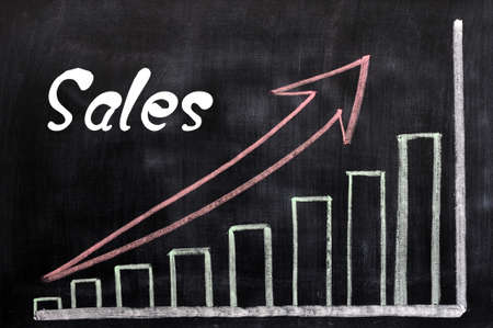 increases: Charts of sales growth written with chalk on a blackboard Stock Photo