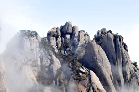 The famous Huangshan mountains in East China Stock Photo