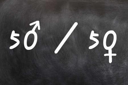 Chances entre les sexes égale ou représentation écrite à la craie sur un tableau noir Banque d'images