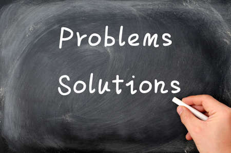Problems and solutions written on a blackboard background photo