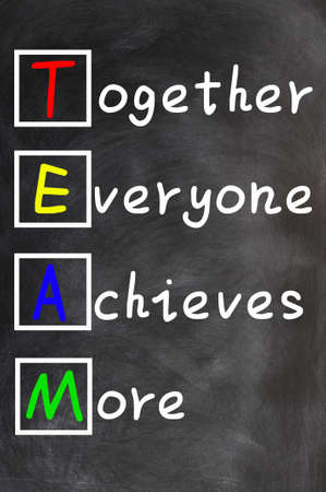 team ideas: TEAM acronym  Together Everyone Achieves More , teamwork motivation concept of chalk handwriting on a blackboard