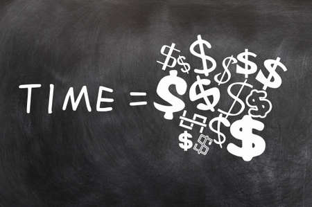 Time is Money written on a blackboard,with various dollar symbols