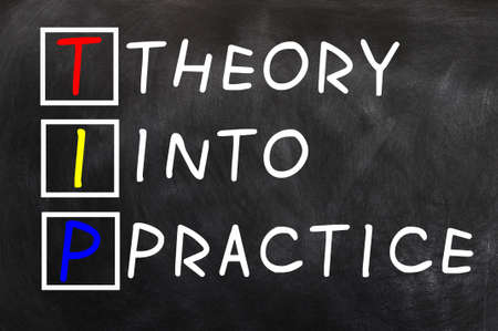 Acronym of TIP for Theory into Practice written on a blackboard photo