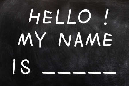 Self Introduction with a blank of my name written on a blackboard Stock Photo - 12947362
