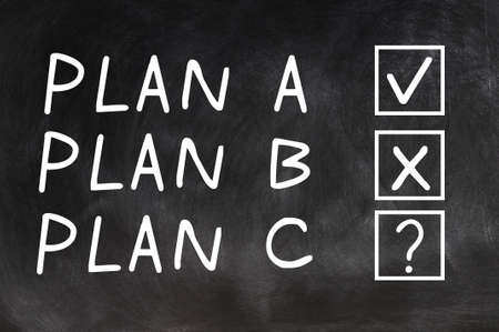 Plan A,Plan B and Plan C with check boxes on a blackboard photo