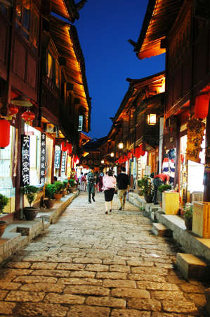 Night scenes of the famous Chinese ancient town of Lijiang,Yunnan