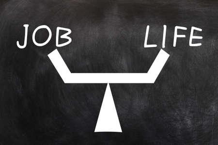 Balance of job and life written on a blackboard photo
