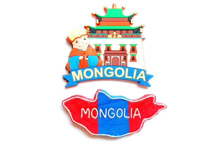 mongolia: Map and logo of Mongolia on a white background