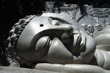 Giant historic buddha head sculpture in Vietnam photo