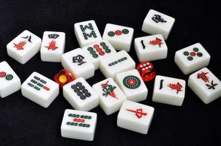Chinese mahjong tiles on a black background Stock Photo