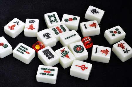 mahjong: Chinese mahjong tiles on a black background Stock Photo