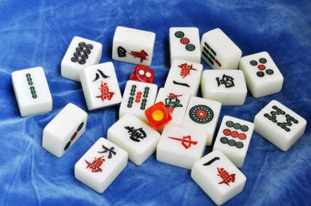 mahjong: Chinese mahjong tiles on a blue background