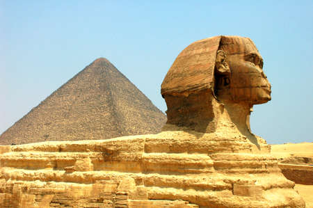 archaeology: Sphinx in front of Pyramid Giza at Cairo Egypt