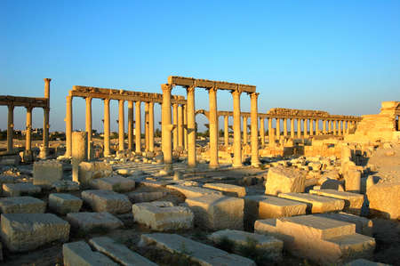 Relics Palmyra in Syria against blue sky  Ancient Roman time town in Palmyra  Tadmor , Syria  photo