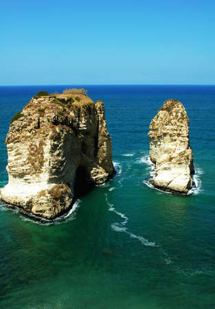 beirut lebanon: Landscape of the famous site of Pigeon Rocks in Beirut,Lebanon