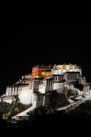 potala: Night scenes of the famous historic Potala Palace in Lhasa Tibet